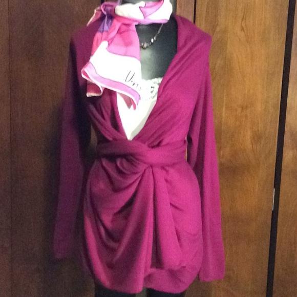 DKNY Sweaters - DKNY High Low Dark Pink Cozy Wrap Sweater Sz Sm a9a91e6ff